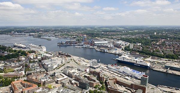 Luftbild Stadthafen Kiel.