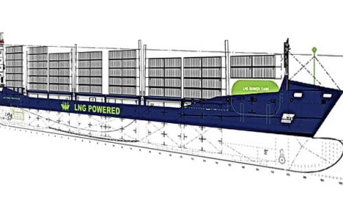 Grafik der WES AMELIE zeigt die Position des LNG-Tanks