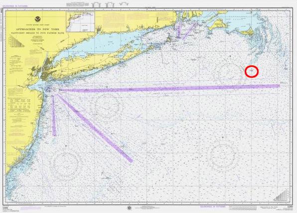Seekarte mit markierter Unglücksstelle.