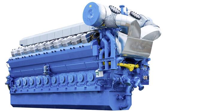 Mittelschnelllaufender Gasmotor der Serie B35:40 mit einem Leistungsbereich von 3,7 bis 9,4 MW.