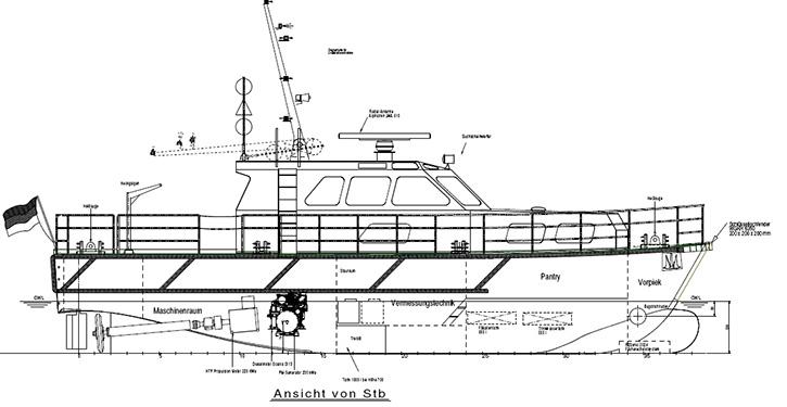 Seitenriss der MS SEEADLER – gut zu sehen die Anordnung von Antriebs-Genset und Torque-Fahrmotor.