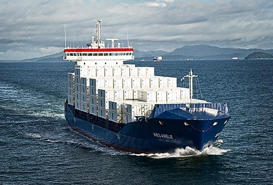 Containerschiffs WES AMELIE, (1.036 TEU) wird auf umweltfreundlichen Erdgas-Betrieb umgebaut. Es wird die weltweit erste Umrüstung eines Containerschiffs von Schweröl auf Erdgas-Betrieb.