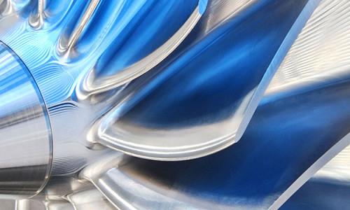 Impressionen aus dem Turbomaschinenbau – Detailaufnahme vom Laufrad eines Kompressors.
