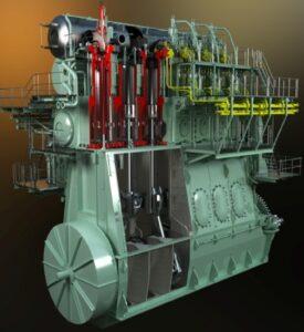 MAN D&T's m,it neuer 2-Taktbaureihe ME-LGI dual-fuel.