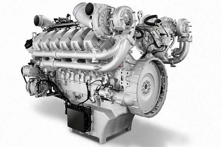 MAN's D2862 LE 124, der eine Leistung von 793 kW bei 1.800/min abgibt Nach Aussage MAN wurden die Motoren gemäß IMO High-Speed Craft Code 2000 getestet und haben den Marpol-Test bestanden.