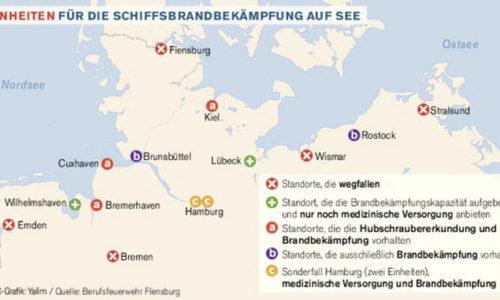Karte mit Einheiten für die Schiffsbrandbekämpfung an der Nord- und Ostsee in Deutschland.