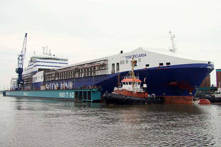 Luftbilder von der damaligen Verlängerung der FICARIA und FREESEA SEAWAYS aus dem Jahr 2009 bei MWB in Bremerhaven.