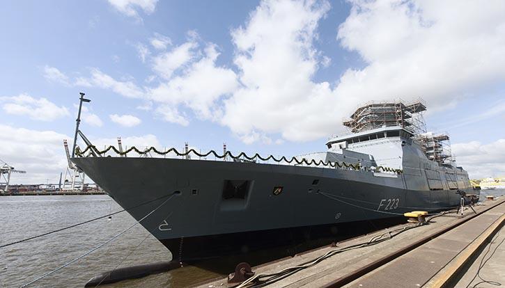 TKMS Taufe der zweiten Fregatte der Klasse F125 auf den Namen NORDRHEIN WESTFALEN.