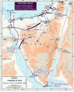Landkarte mit eingezeichneten Operationen während der Sueskrise.
