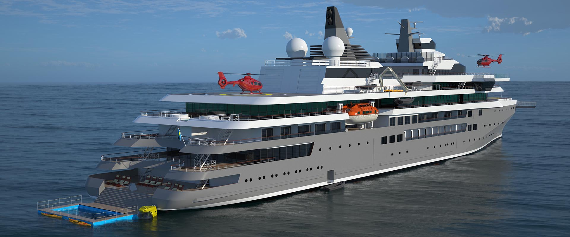 Passengers will take in the views on multiple viewing platforms that extend over the side or past the bow