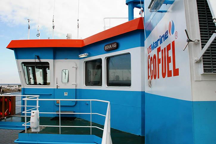 Weithin sichtbar: Das Schiff fährt mit Biodiesel.