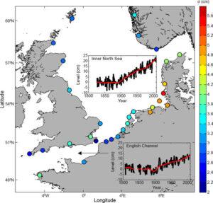 Änderung des Meeresspiegels an ausgesuchten Messstationen in der Nordseeregion.