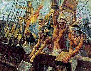 Als Indianer verkleidete Bostoner Bürger warfen Tee der britischen East India Trading Company ins Hafenbecken.