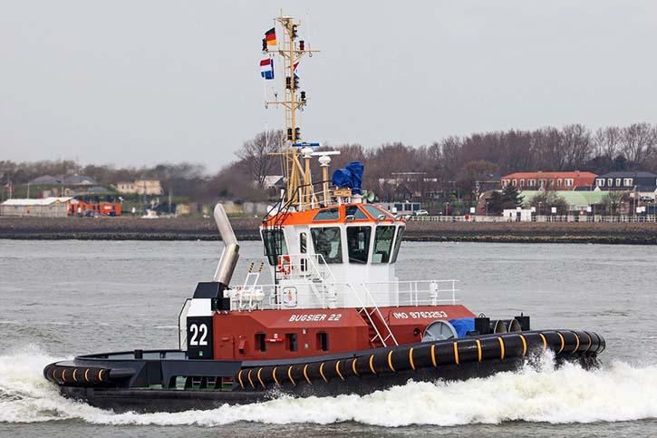 """Hafenschlepper BUGSIER 22 ist vom Typ """"Damen ASD 2411""""."""
