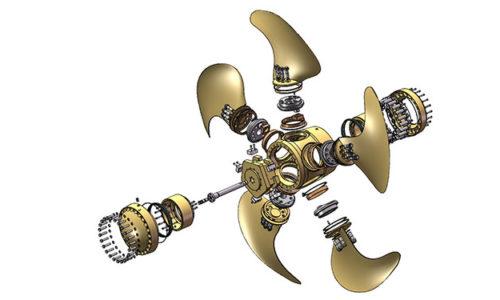 Die Explosionszeichnung zeigt die Einzelteile der Verstellpropeller.