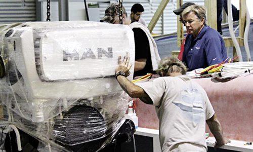 MAN-Motor bei Einbau in eine Yacht.