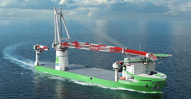 Design-Entwurf des neuen Liebherr HLC 295000-Krans für das DEME-Schiff MS ORION.