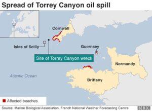 TORREY CANYON nahm östliche Durchfahrt zwischen Landsend und der Inselgruppe.