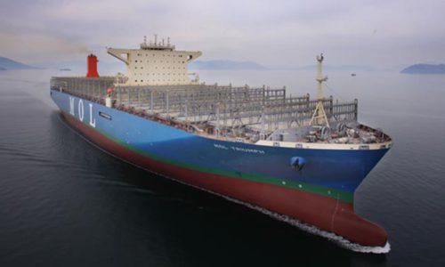 20,000 TEU-Containerschiff, die MOL TRIUMPH geht auf Jungfernfahrt.