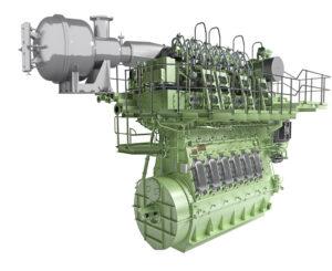 Darstellung des SCR-HP-Reaktors an einem Zweitaktmotor zeigt wie kompakt das System ist.
