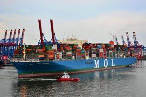 Erstes 20.000-TEU Containerschiff machte in Hamburg fest.