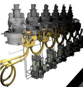 Das Oberteil eines 6-Zylinder-ME-GIE-Motors