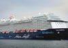 MEIN SCHIFF 6 am 12.05. im Rahmen ihres Erstanlaufs in einem deutschen Hafen am Ostseekai in Kiel.