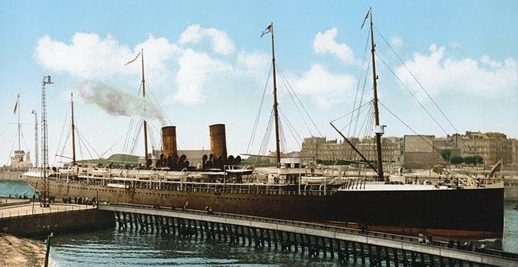 The Transatlantic steamer LA BOURGOGNE, entering the port of Le Havre, France.