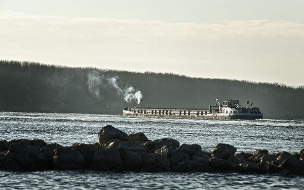 Motorgüterschiff fährt bei niedrigem Wasserstand auf der Donau zu Berg.