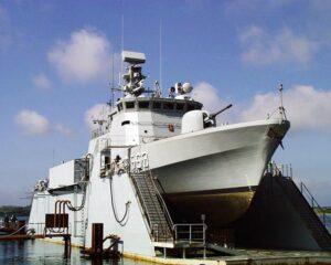 Schnellboot der Flyvefisken Klasse dänischen Marine P563 SØLØVEN.