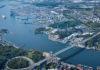 Luftaufnahme des Hafens von Göteborg.