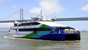 "WETA-Fähre ""Hydrus"" (2 x MTU 12V 4000) an der Bay Bridge."