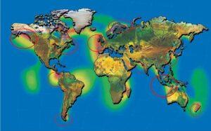 Potentielle Standorte für Erneuerbare Energie durch Gezeitenströmung.