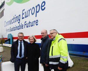 Von links: Niclas Mårtensson, CEO Stena Line, Anneli Hulthén, Länshövding Skåne Christian Pegel, Minister für Energie, Infrastruktur und Digitalisierung des Landes Mecklenburg-Vorpommern, Jörgen Nilsson, CEO Hafen Trelleborg.