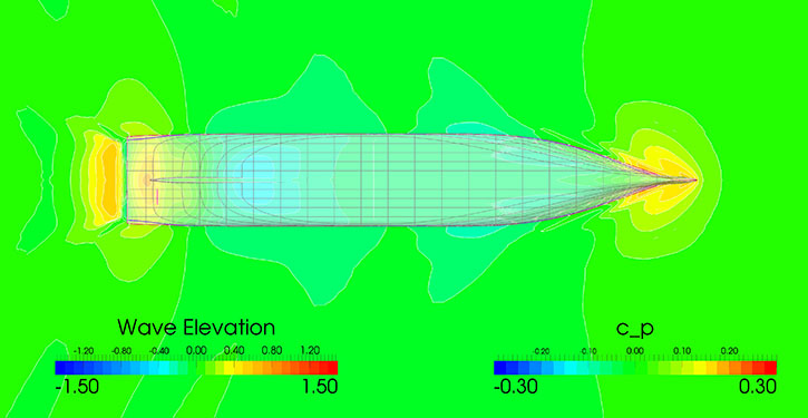 Wave elevation and pressure distribution on the optimized hull .