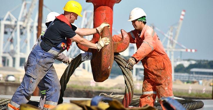Hafenarbeiter.