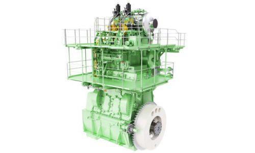 Ansicht des MAN B&W 2S5ME-C-GI-Prüfmotors für HHI-EMD.