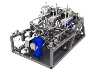 Prüfmotor-Setup mit Pumpenverdampfereinheit von MAN Diesel & Turbo.