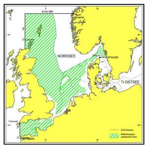 Ballastwasseraustauschgebiete in der Nordsee. © BSH