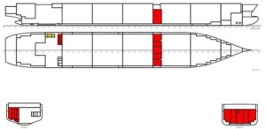 Mögliche Kraftstoff-Vorratstankanordnungen auf einem Containerschiff.