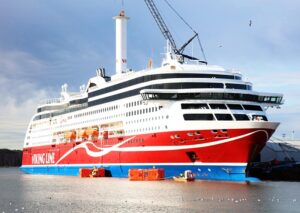 Die VIKING GRACE in Fahrt mit Norsepower Rotor-Sail.