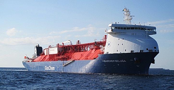Die GASCHEM BELUGA läuft erfolgreich mit Ethan als Hauptkraftstoff.