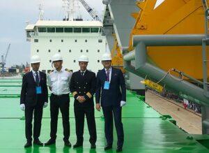 From left: Managing Director Mikki Koskinen, Chief Engineer Jarmo Kuronen, Master Jussi Vaahtikari and Chairman of the Board Aki Ojanen