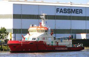 Die BRANDDIREKTOR WESTPHAL vor ihrer Überführung an der Fassmer-Werft. ©HPA