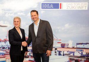 Angela Titzrath, HHLA-Vorstandsvorsitzende, und Dirk Ahlborn, Gründer und CEO von Hyperloop Transportation Technologies