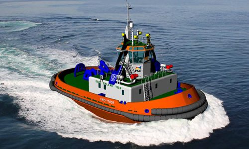 Graphical rendering of the new harbour tug bound for the Port of Barcelona.