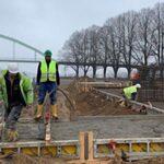 Arbeiten zur Errichtung der ersten europäischen Bunkeranlage im Köln-Niehler Hafen