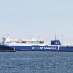 Die KAUNAS (Fotomontage) in den Farben ihres neuen Charterers Aegean Seaways.