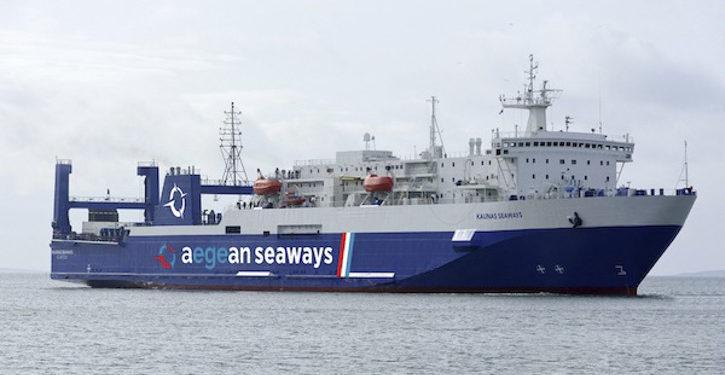 Die KAUNAS (Fotomontage) wurde am 20.05. von Aegean Seaways als Charterfähre präsentiert.
