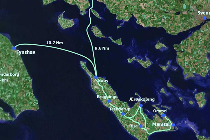 Fahrtroute der ELLEN im südlichen Gewässer von Dänemark.